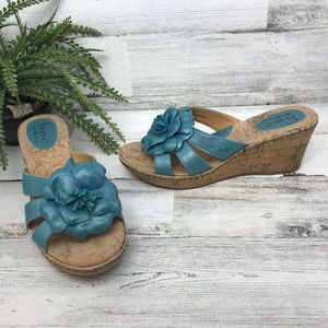 b.o.c. Born Concept Blue Wedge Sandals [486s4]
